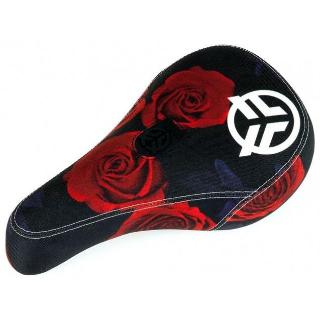 Седло Federal Mid Pivotal Roses черно-красное с белым вышитым логотипом